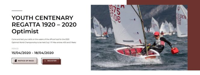 Zaproszenie na regaty YOUTH CENTENARY REGATTA 1920 – 2020 Optimist – Garda